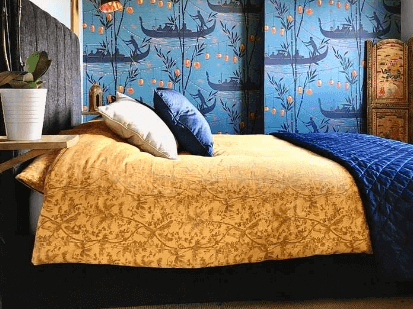 """""""Blue Gold Guest Bedroom Detail"""" Interior Styling by Emma Mullender"""