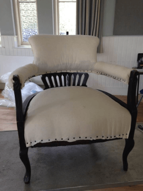 """""""Victorian Horse Shoe Chair"""" Calico on. Traditional Upholstery by Emma Mullender."""