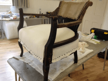"""""""Victorian Horse Shoe Chair"""" Calico seat. Traditional Upholstery by Emma Mullender."""