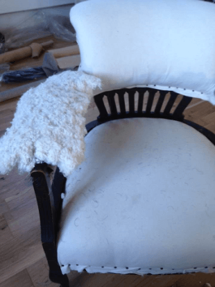 """""""Victorian Horse Shoe Chair"""" Calico on and Cotton Wadding. Traditional Upholstery by Emma Mullender."""