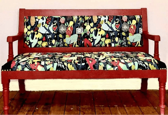"""""""Recovering Old Pub bench"""" Stig Ljungberg fabric. Upholstery by Emma Mullender"""