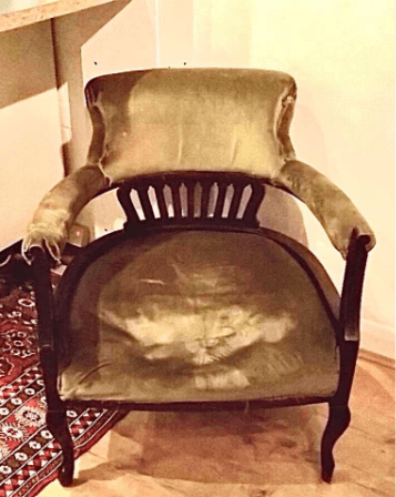 """""""Victorian Horse Shoe Chair, Before Picture"""" Traditional Upholstery by Emma Mullender"""