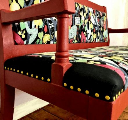 """""""Recovering Fabric of an Old Pub Bench"""" Upholstery. By Emma Mullender"""