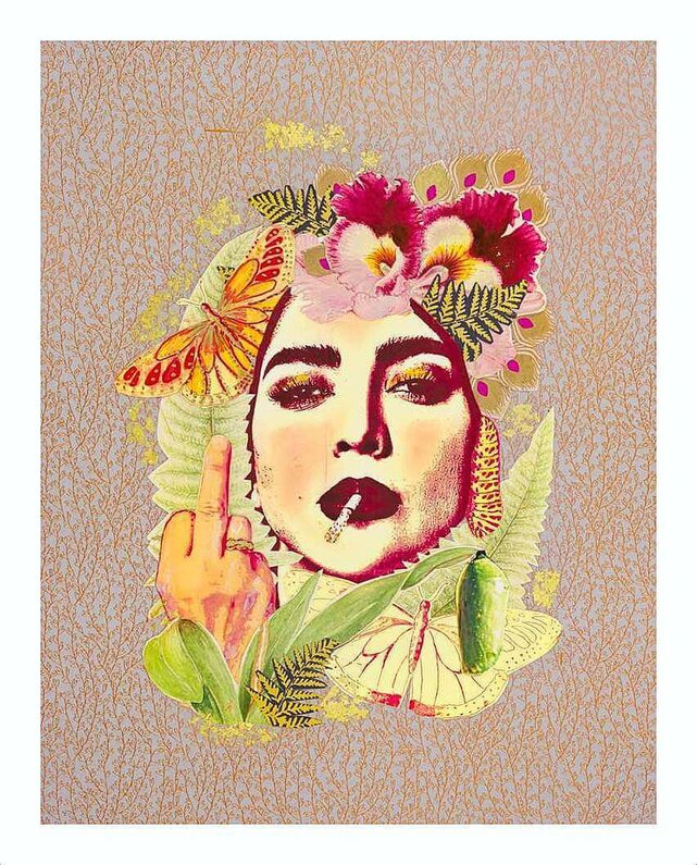 """""""Feminine and Feisty Collage"""" print with border by Emma Mullender"""
