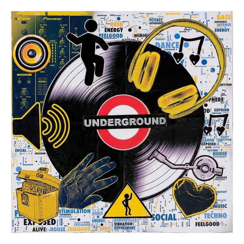 """""""Underground Music Collage"""" with border. Inspired by my love of music and dancing. Prints available. by Emma Mullender"""