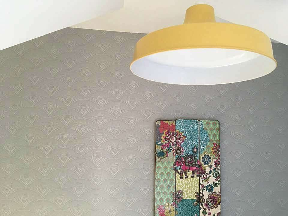 """""""Interior Styling a teenage girls loft bedroom"""" yellow pendant light and art by Emma Mullender"""
