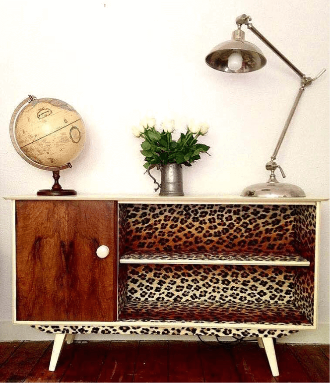 """""""Upcycled Drinks and Glass Cabinet"""" Leopard print wood door by Emma Mullender"""